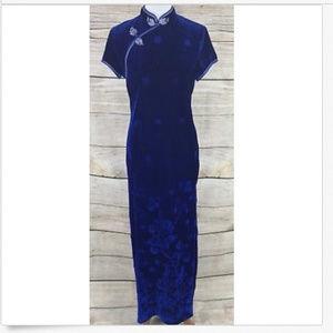 Blue Velvet Asian Inspired Maxi Dress Floral Sz S